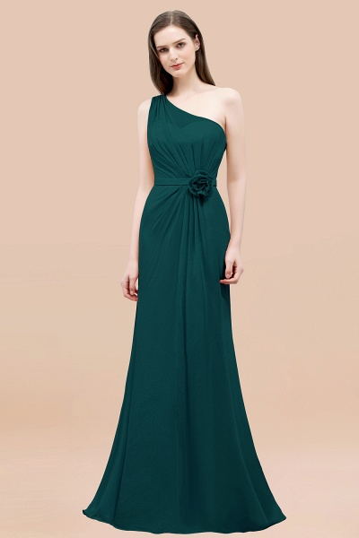 Mermaid Chiffon One-shoulder Sleeveless Ruffled Floor-Length Bridesmaid Dresses with Flower_33