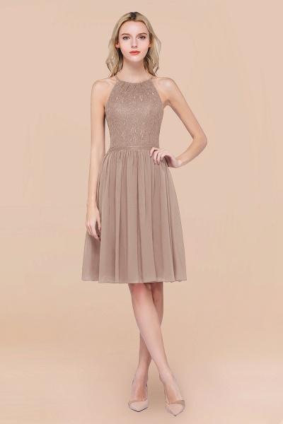 A-line Chiffon Lace Jewel Sleeveless Knee-Length Bridesmaid Dresses with Ruffles_16