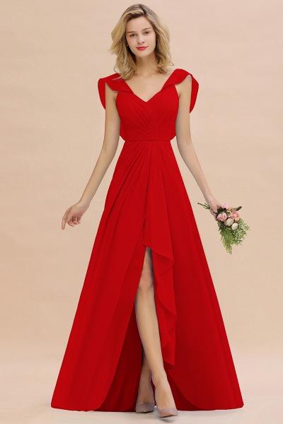 BM0777 Simple Hi-Lo V-Neck Ruffles Long Bridesmaid Dress_8