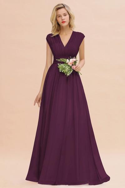 BM0774 Chiffon V-Neck Sleeveless Elegant A-line Ruffles Bridesmaid Dress_20