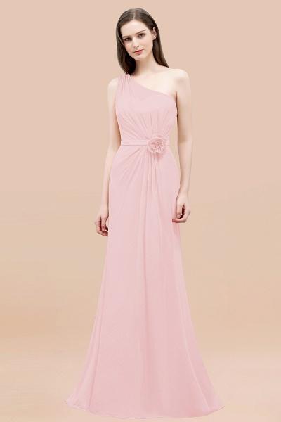 Mermaid Chiffon One-shoulder Sleeveless Ruffled Floor-Length Bridesmaid Dresses with Flower_3