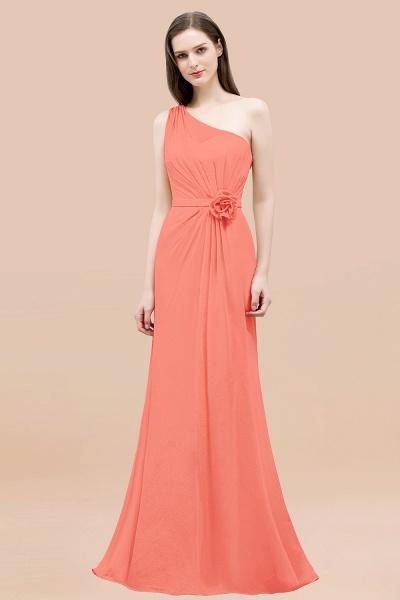 Mermaid Chiffon One-shoulder Sleeveless Ruffled Floor-Length Bridesmaid Dresses with Flower_45