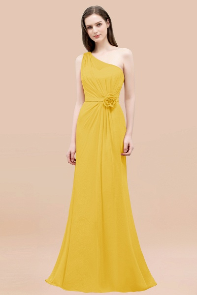 Mermaid Chiffon One-shoulder Sleeveless Ruffled Floor-Length Bridesmaid Dresses with Flower_17