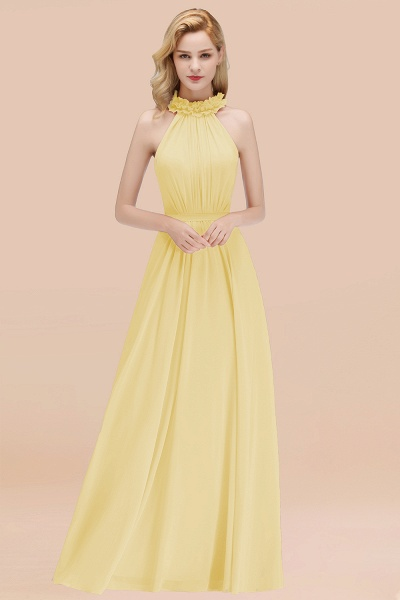 A-line Chiffon Halter Sleeveless Ruffled Floor Length Bridesmaid Dresses_18