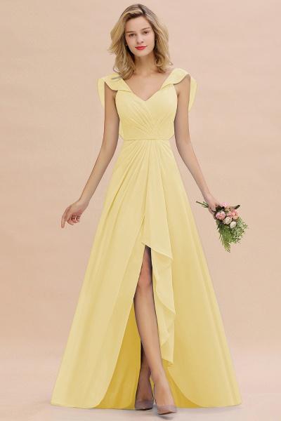 BM0777 Simple Hi-Lo V-Neck Ruffles Long Bridesmaid Dress_18