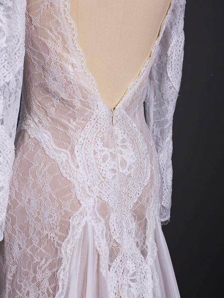 Elegant Long Sleeve Lace Sheath Wedding Dress_7