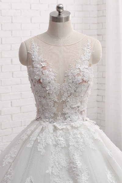 Elegant Long Princess Tulle Court Train Wedding Dress with Appliques Lace_4