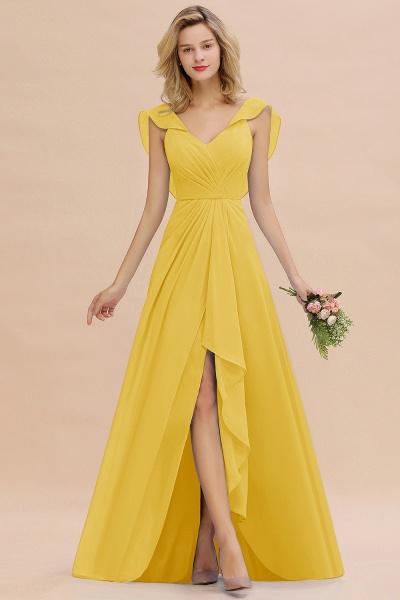 BM0777 Simple Hi-Lo V-Neck Ruffles Long Bridesmaid Dress_17