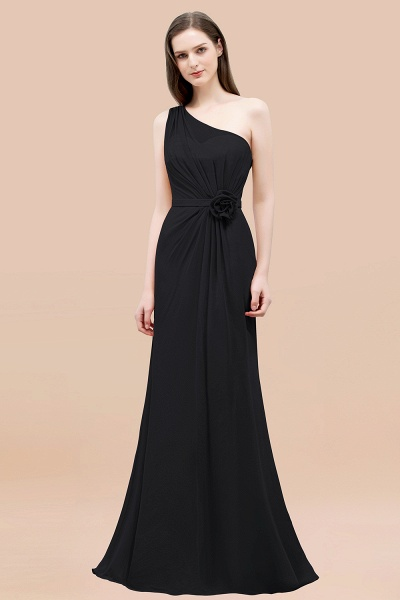Mermaid Chiffon One-shoulder Sleeveless Ruffled Floor-Length Bridesmaid Dresses with Flower_29