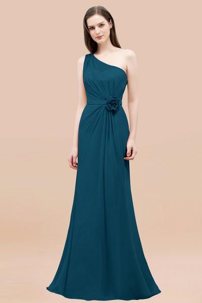 Mermaid Chiffon One-shoulder Sleeveless Ruffled Floor-Length Bridesmaid Dresses with Flower_27