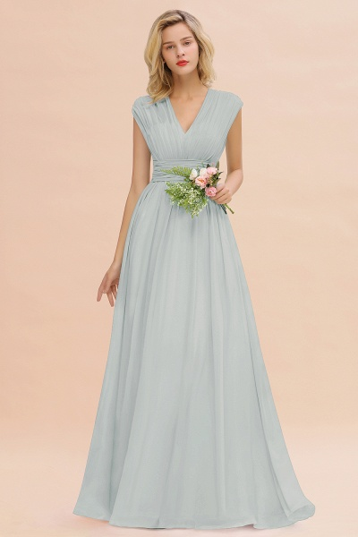 BM0774 Chiffon V-Neck Sleeveless Elegant A-line Ruffles Bridesmaid Dress_38