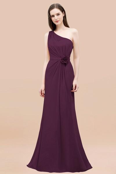 Mermaid Chiffon One-shoulder Sleeveless Ruffled Floor-Length Bridesmaid Dresses with Flower_20