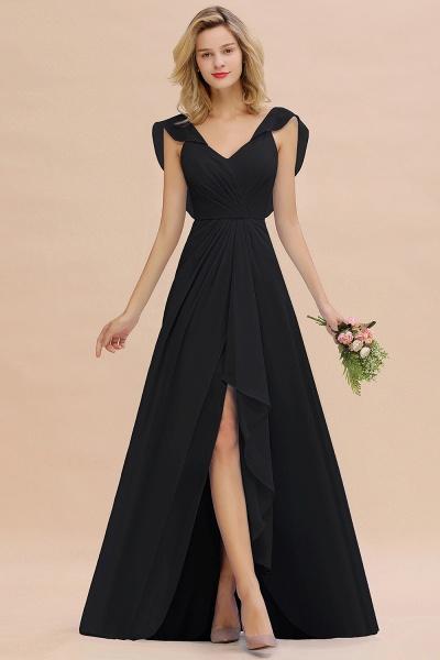 BM0777 Simple Hi-Lo V-Neck Ruffles Long Bridesmaid Dress_29