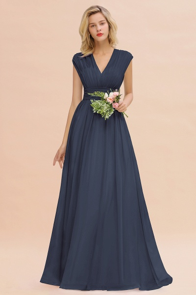 BM0774 Chiffon V-Neck Sleeveless Elegant A-line Ruffles Bridesmaid Dress_39
