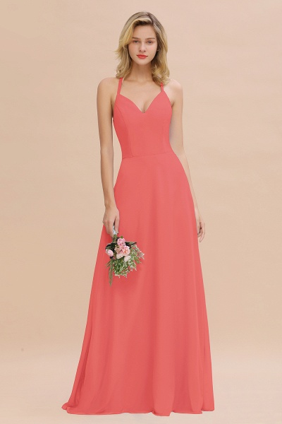 BM0779 Stylish Chiffon Spaghetti Straps Sleeveless Long Bridesmaid Dress_7