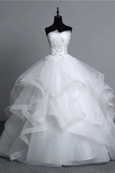 Gorgeous Long Ball Gowns Strapless Tulle Layers Wedding Dress Appliques Beadings