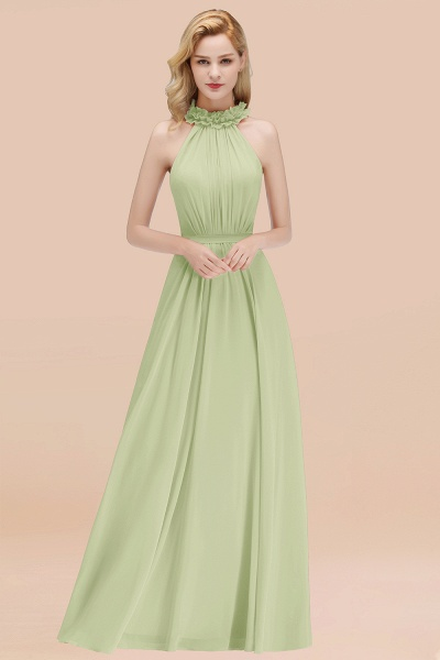 A-line Chiffon Halter Sleeveless Ruffled Floor Length Bridesmaid Dresses_35