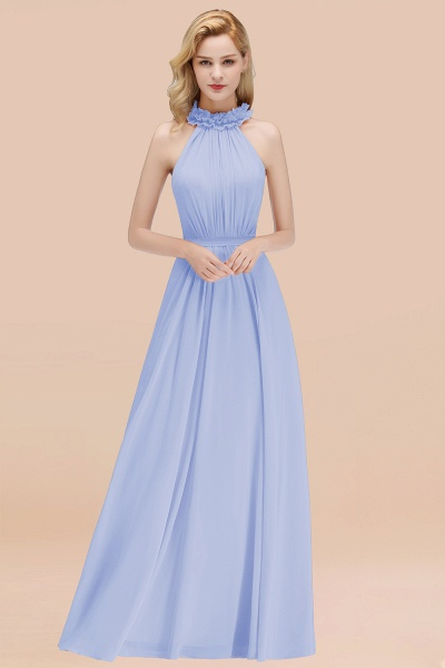 A-line Chiffon Halter Sleeveless Ruffled Floor Length Bridesmaid Dresses_22