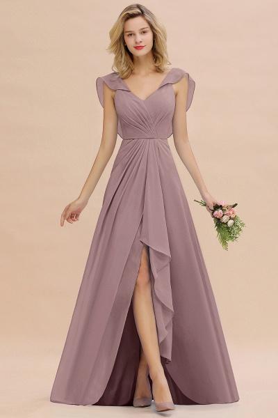 BM0777 Simple Hi-Lo V-Neck Ruffles Long Bridesmaid Dress_37