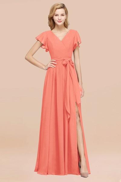 elegant A-line Chiffon V-Neck Short-Sleeves Floor-Length Bridesmaid Dresses with Bow Sash_45