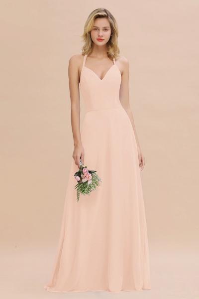BM0779 Stylish Chiffon Spaghetti Straps Sleeveless Long Bridesmaid Dress_5