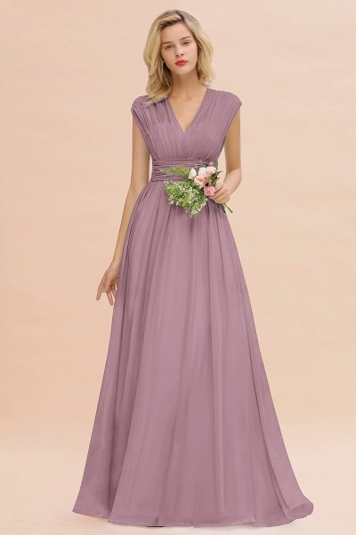 BM0774 Chiffon V-Neck Sleeveless Elegant A-line Ruffles Bridesmaid Dress_43