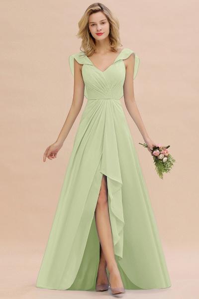 BM0777 Simple Hi-Lo V-Neck Ruffles Long Bridesmaid Dress_35