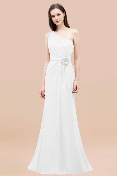 Mermaid Chiffon One-shoulder Sleeveless Ruffled Floor-Length Bridesmaid Dresses with Flower_1