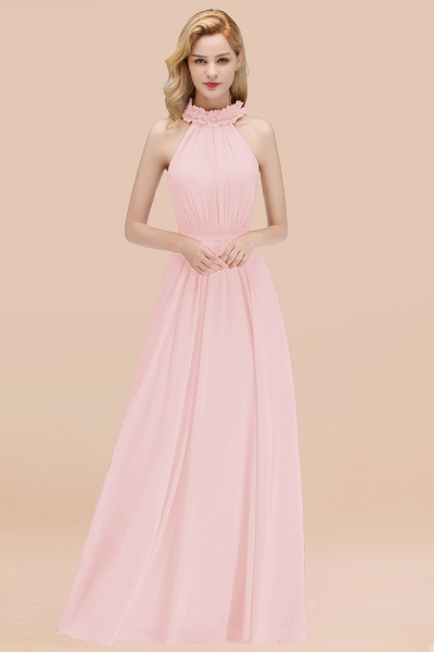 A-line Chiffon Halter Sleeveless Ruffled Floor Length Bridesmaid Dresses_3