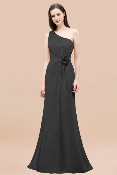 Mermaid Chiffon One-shoulder Sleeveless Ruffled Floor-Length Bridesmaid Dresses with Flower_46