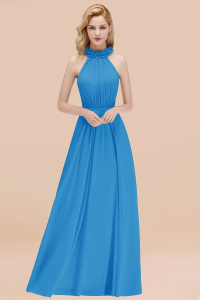 A-line Chiffon Halter Sleeveless Ruffled Floor Length Bridesmaid Dresses_25