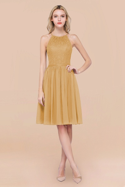 A-line Chiffon Lace Jewel Sleeveless Knee-Length Bridesmaid Dresses with Ruffles_13