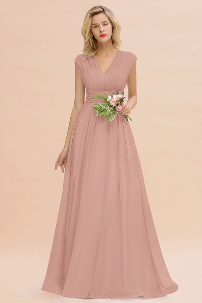 BM0774 Chiffon V-Neck Sleeveless Elegant A-line Ruffles Bridesmaid Dress_6