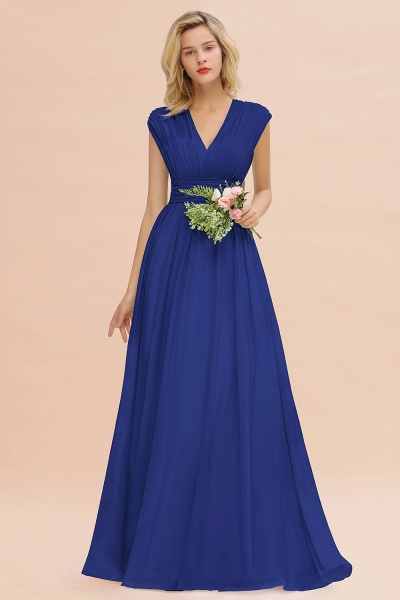 BM0774 Chiffon V-Neck Sleeveless Elegant A-line Ruffles Bridesmaid Dress_26