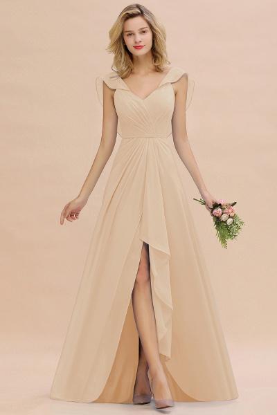 BM0777 Simple Hi-Lo V-Neck Ruffles Long Bridesmaid Dress_14