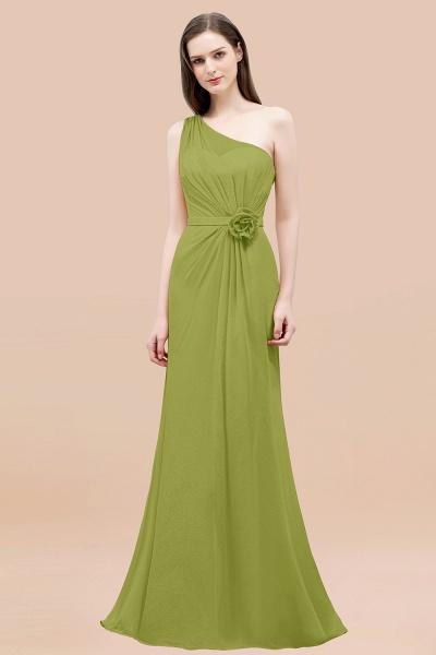 Mermaid Chiffon One-shoulder Sleeveless Ruffled Floor-Length Bridesmaid Dresses with Flower_34