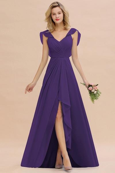 BM0777 Simple Hi-Lo V-Neck Ruffles Long Bridesmaid Dress_19