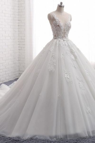 Elegant Long Princess Tulle Court Train Wedding Dress with Appliques Lace_3