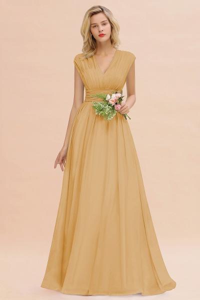 BM0774 Chiffon V-Neck Sleeveless Elegant A-line Ruffles Bridesmaid Dress_13