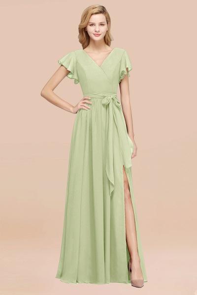 elegant A-line Chiffon V-Neck Short-Sleeves Floor-Length Bridesmaid Dresses with Bow Sash_35