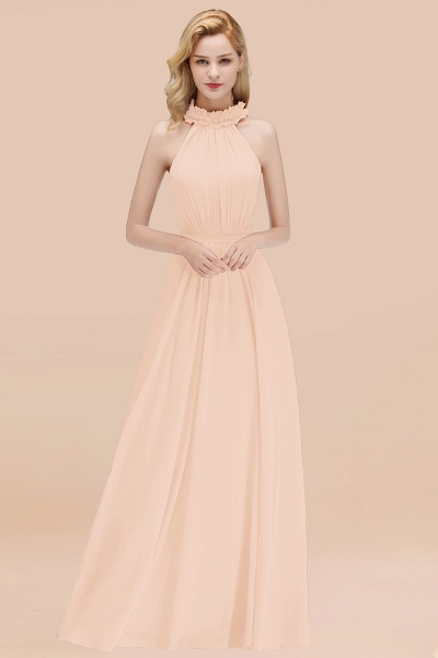 A-line Chiffon Halter Sleeveless Ruffled Floor Length Bridesmaid Dresses_5