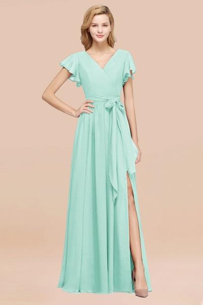 elegant A-line Chiffon V-Neck Short-Sleeves Floor-Length Bridesmaid Dresses with Bow Sash_36