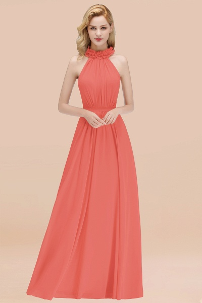 A-line Chiffon Halter Sleeveless Ruffled Floor Length Bridesmaid Dresses_7