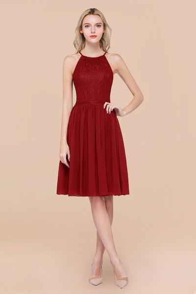 A-line Chiffon Lace Jewel Sleeveless Knee-Length Bridesmaid Dresses with Ruffles_48