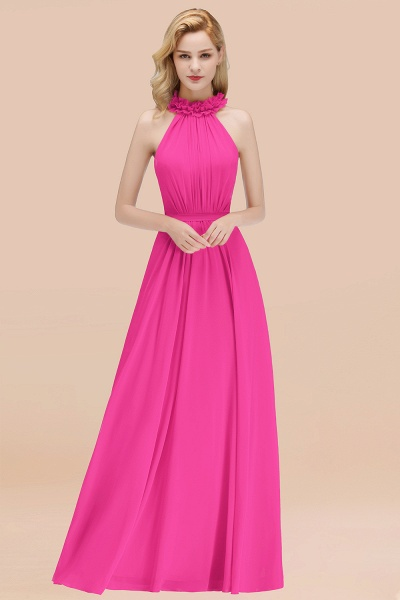 A-line Chiffon Halter Sleeveless Ruffled Floor Length Bridesmaid Dresses_9