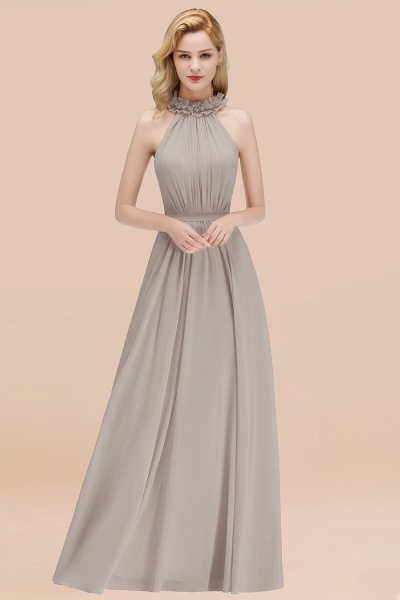 A-line Chiffon Halter Sleeveless Ruffled Floor Length Bridesmaid Dresses_30