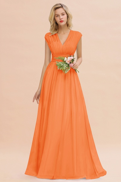 BM0774 Chiffon V-Neck Sleeveless Elegant A-line Ruffles Bridesmaid Dress_15