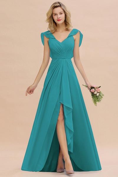 BM0777 Simple Hi-Lo V-Neck Ruffles Long Bridesmaid Dress_32