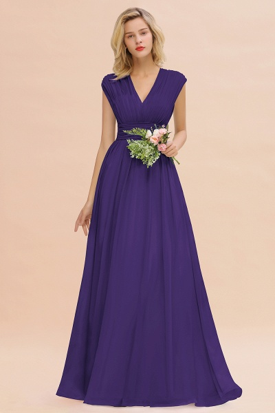 BM0774 Chiffon V-Neck Sleeveless Elegant A-line Ruffles Bridesmaid Dress_19