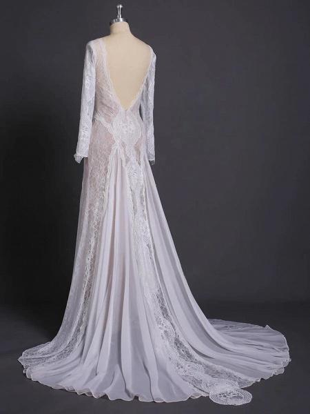 Elegant Long Sleeve Lace Sheath Wedding Dress_5
